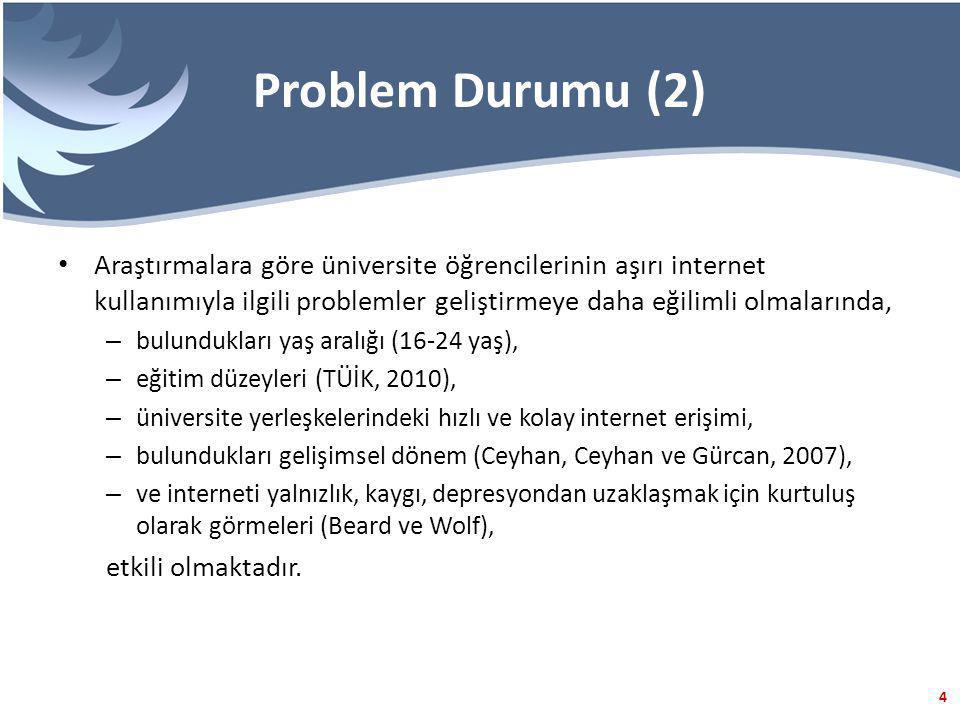 Problem Durumu (2) Araştırmalara göre üniversite öğrencilerinin aşırı internet kullanımıyla ilgili problemler geliştirmeye daha eğilimli olmalarında,