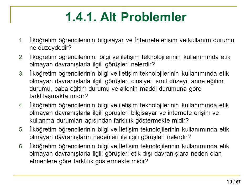 1.4.1. Alt Problemler İlköğretim öğrencilerinin bilgisayar ve İnternete erişim ve kullanım durumu ne düzeydedir