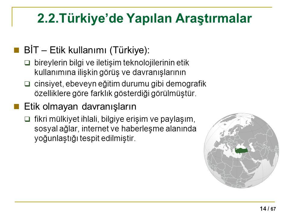 2.2.Türkiye'de Yapılan Araştırmalar