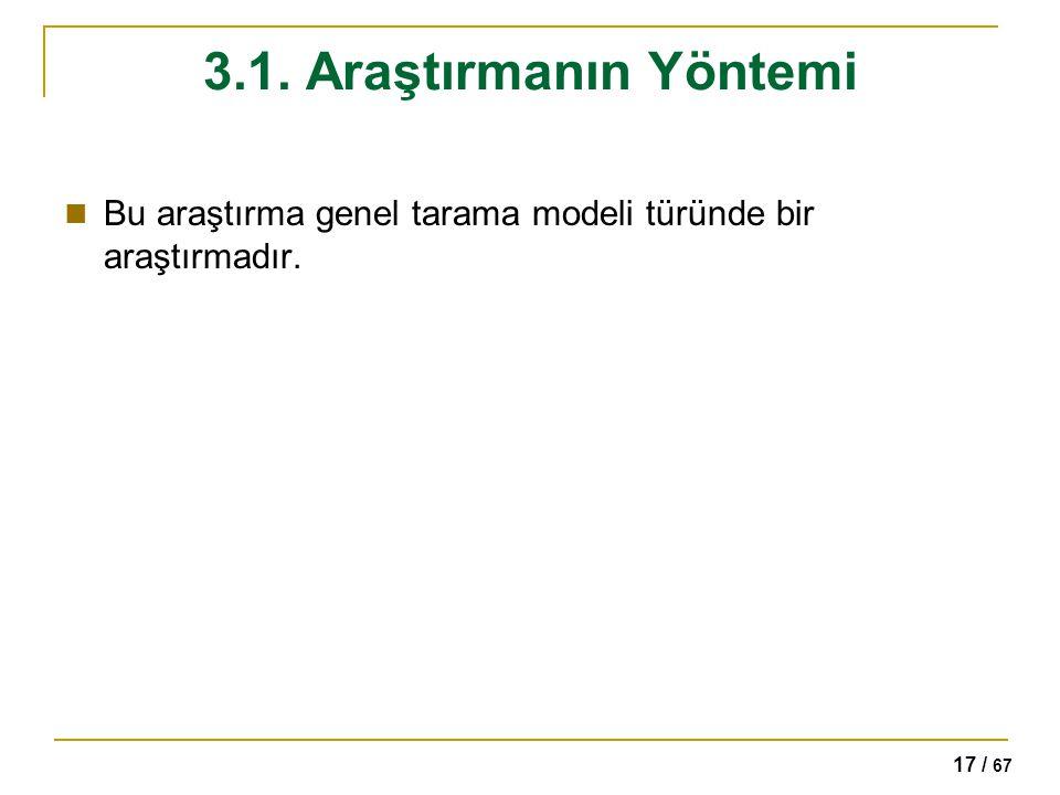 3.1. Araştırmanın Yöntemi Bu araştırma genel tarama modeli türünde bir araştırmadır.