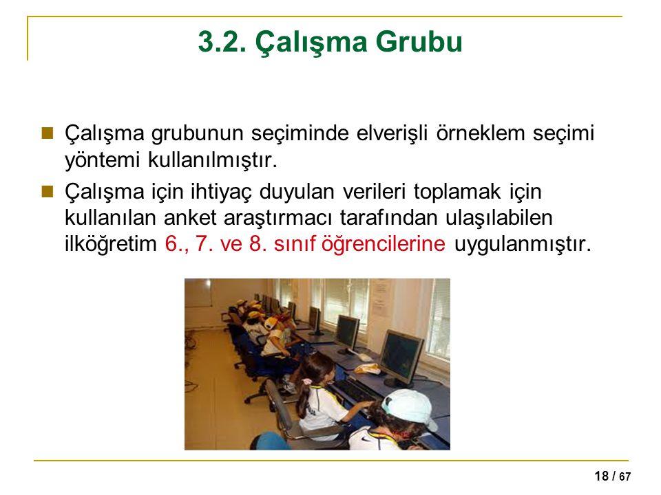 3.2. Çalışma Grubu Çalışma grubunun seçiminde elverişli örneklem seçimi yöntemi kullanılmıştır.