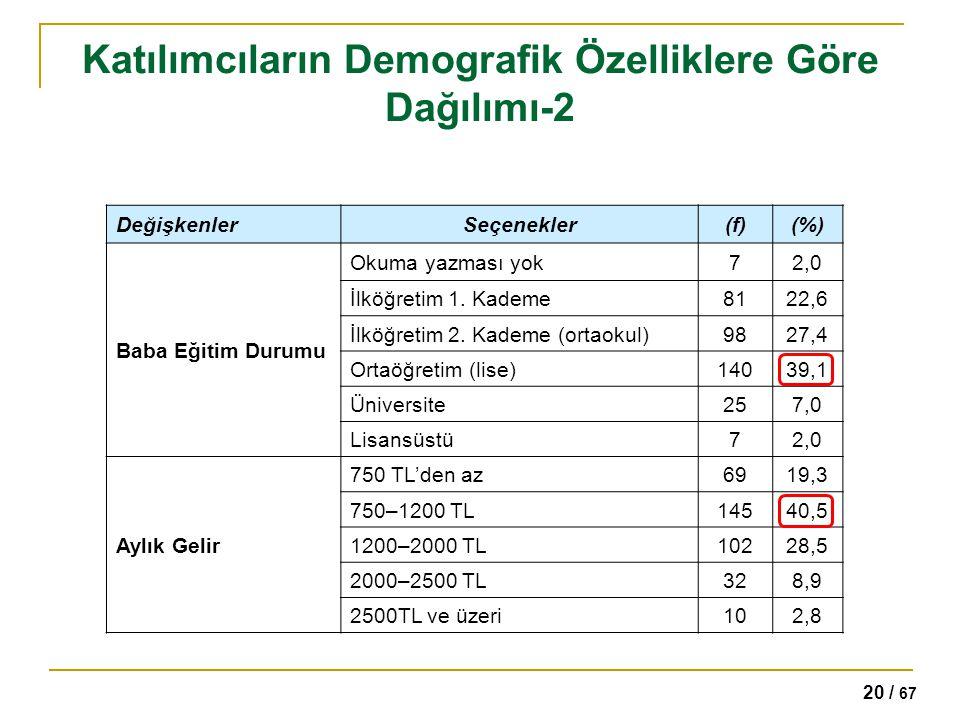 Katılımcıların Demografik Özelliklere Göre Dağılımı-2