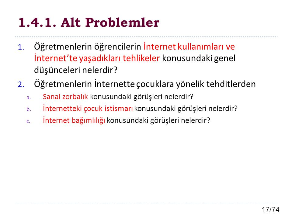 1.4.1. Alt Problemler