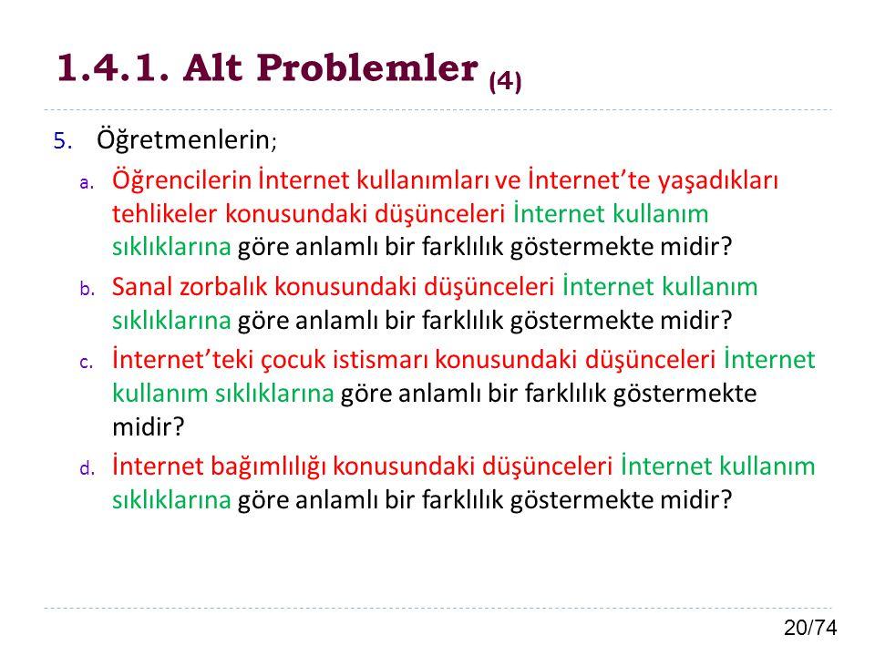 1.4.1. Alt Problemler (4) Öğretmenlerin;