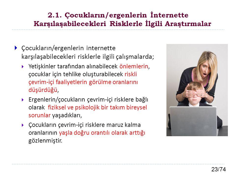 2.1. Çocukların/ergenlerin İnternette Karşılaşabilecekleri Risklerle İlgili Araştırmalar