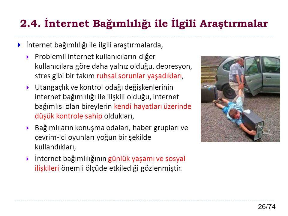2.4. İnternet Bağımlılığı ile İlgili Araştırmalar