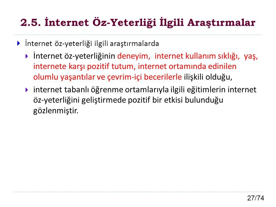 2.5. İnternet Öz-Yeterliği İlgili Araştırmalar