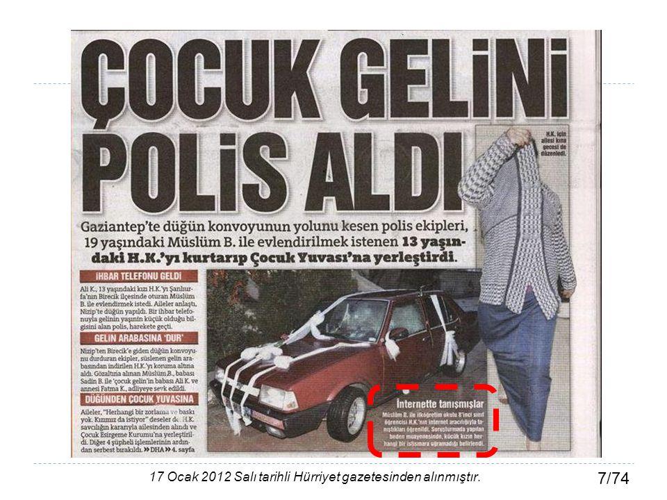 17 Ocak 2012 Salı tarihli Hürriyet gazetesinden alınmıştır.
