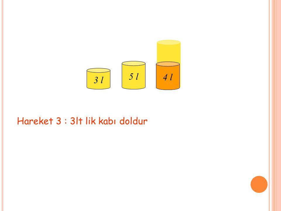 3 l 5 l 9 l 4 l Hareket 3 : 3lt lik kabı doldur