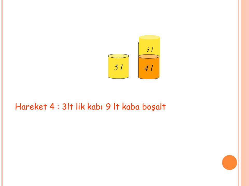 Hareket 4 : 3lt lik kabı 9 lt kaba boşalt