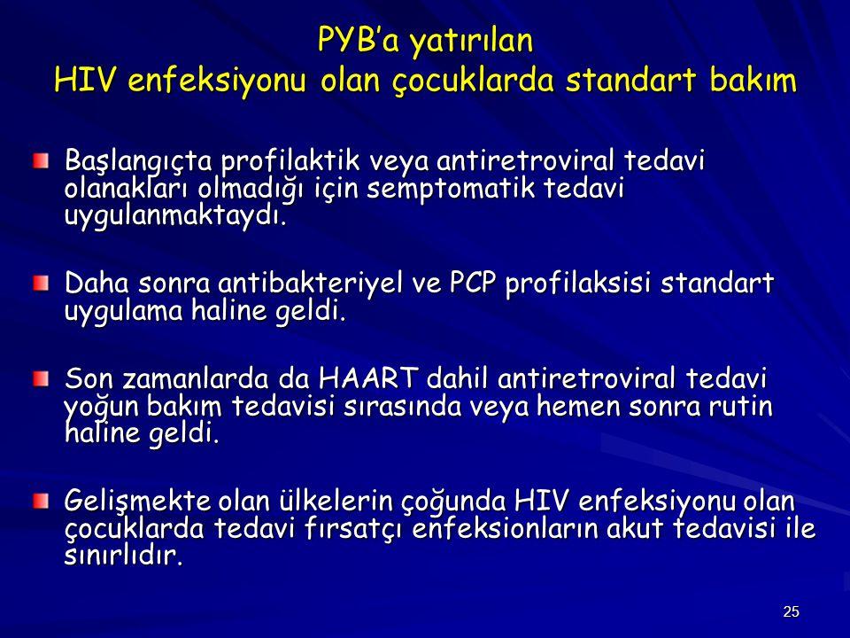 PYB'a yatırılan HIV enfeksiyonu olan çocuklarda standart bakım