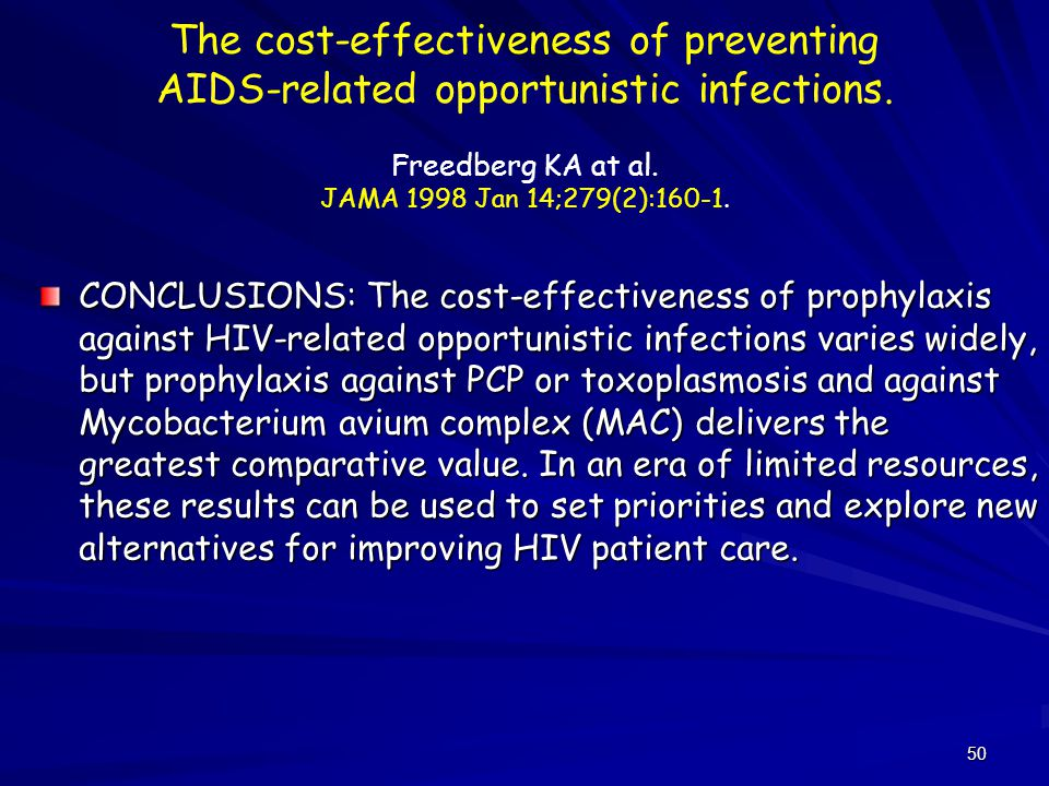 The cost-effectiveness of preventing AIDS-related opportunistic infections. Freedberg KA at al. JAMA 1998 Jan 14;279(2):160-1.