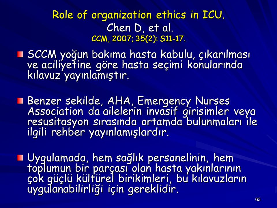 Role of organization ethics in ICU. Chen D, et al