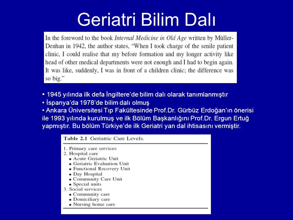 Geriatri Bilim Dalı 1945 yılında ilk defa İngiltere'de bilim dalı olarak tanımlanmıştır. İspanya'da 1978'de bilim dalı olmuş.