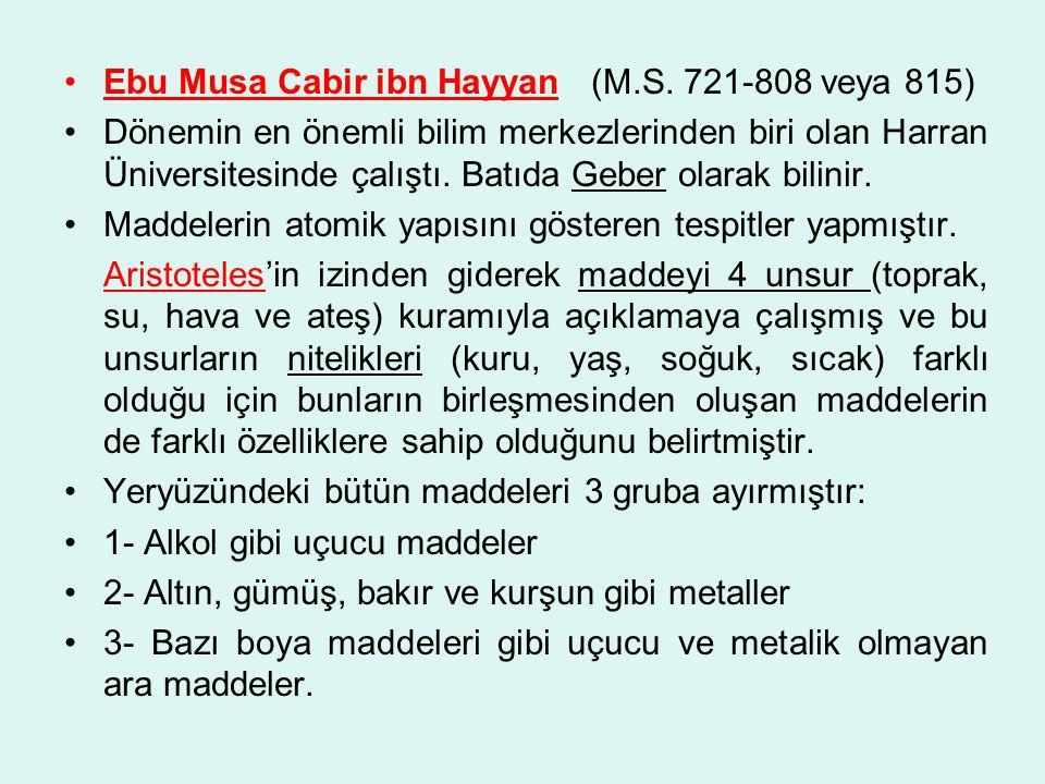 Ebu Musa Cabir ibn Hayyan (M.S. 721-808 veya 815)