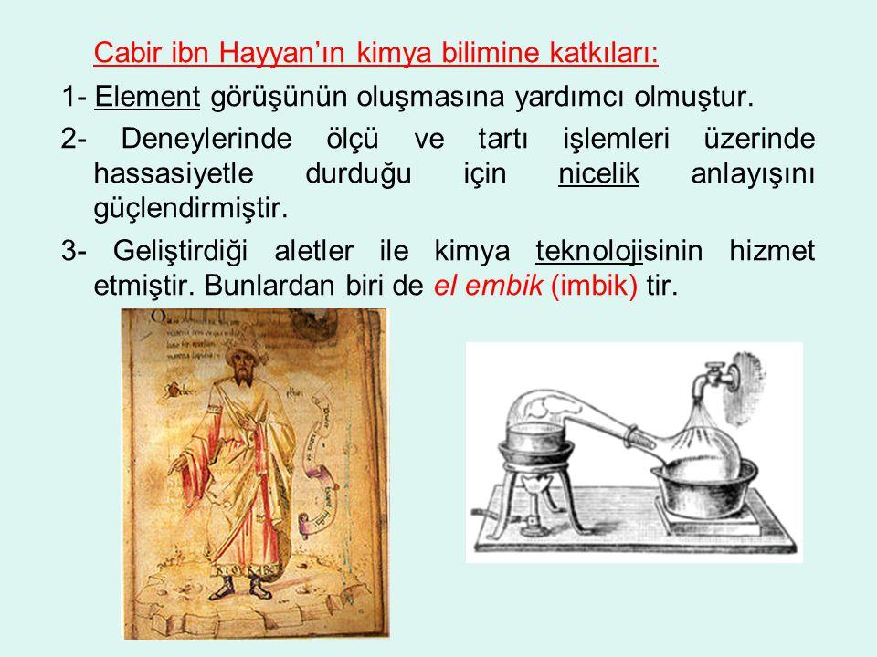 Cabir ibn Hayyan'ın kimya bilimine katkıları: