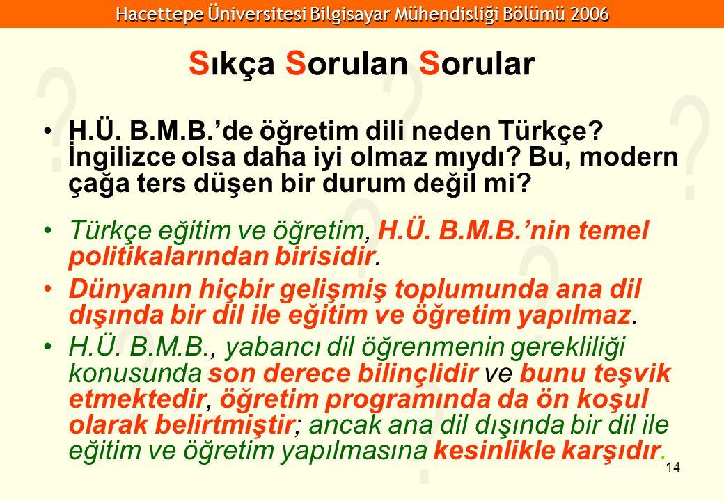 Sıkça Sorulan Sorular H.Ü. B.M.B.'de öğretim dili neden Türkçe İngilizce olsa daha iyi olmaz mıydı Bu, modern çağa ters düşen bir durum değil mi