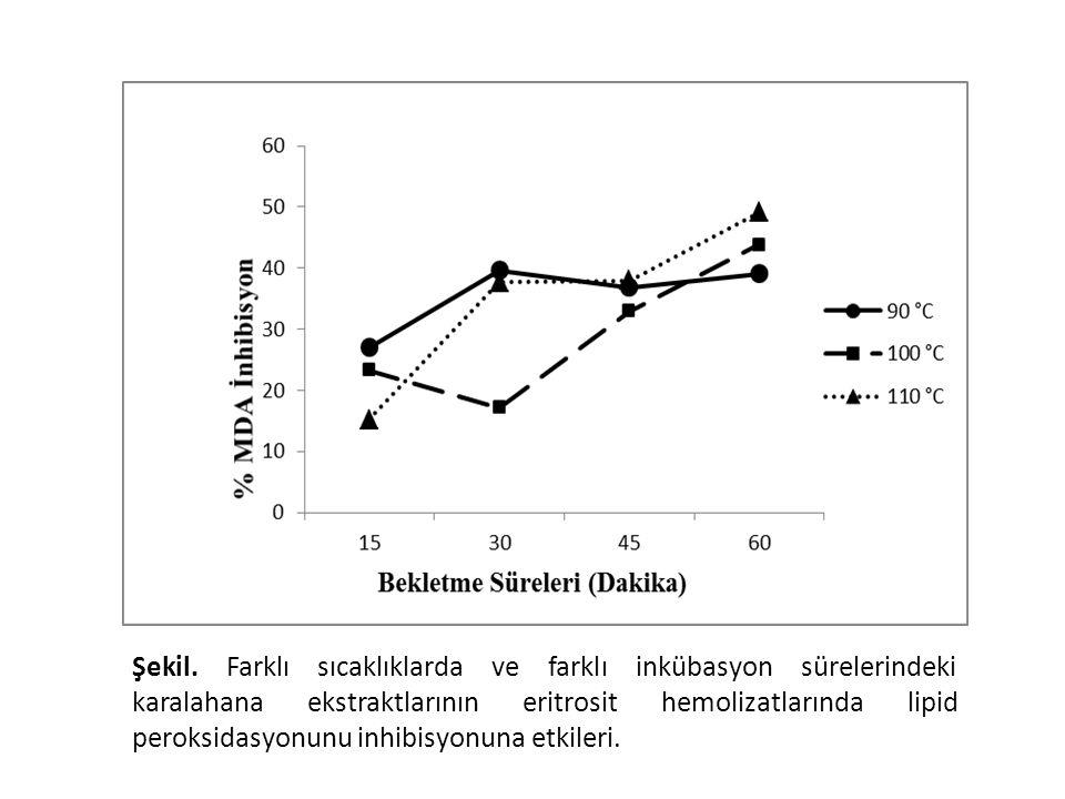 Tüm sıcaklık ve bekletme sürelerindeki ekstraktlar lipid peroksidasyonuna karşı koruyucu etki gösterdi (Şekil 9). Ancak tüm sıcaklıklarda 60. dakikada en yüksek inhibisyon gözlendi. Sıcaklık ve bekletme süreleri göz önüne alındığında lipid peroksidasyonu 100 oC' de 60 dakikada elde edilen ekstraktlarla en fazla oranda engellendi. Bu sonuç ile toplam polifenol miktarının en yüksek olduğu sıcaklık ve dakika ile uyumlu bulundu. Bu da lipid peroksidasyonunun engellenmesinde polifenol miktarının önemli olduğunu göstermektedir.