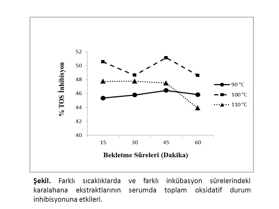 Tüm sıcaklık ve bekletme sürelerindeki ekstraktların serumda toplam oksidatif stresi azaltma da oldukça etkili olduğu görüdü (Şekil 10). En yüksek inhibisyon verileri 100 oC' de elde edildi. Zamanın ise pek farklı etki göstermediği gözlendi. Ancak 110 oC'de 60 dakikadaki ekstraktın inhibisyon etkisinin azaldığı belirlendi. Bu sonuçlar ekstraktların zamana bağlı toplam antioksidan cevabın değişmemesi ve 100 oC'de en yüksek flavonoid içeriğinin bulunması ile uyumluluk göstermektedir.