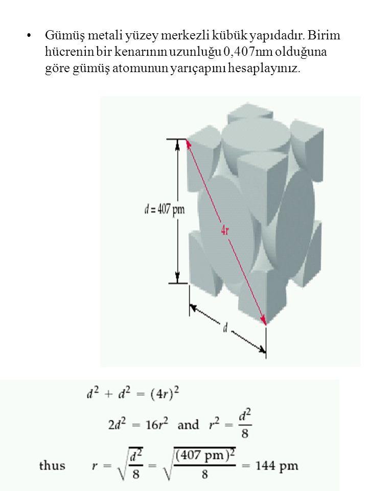 Gümüş metali yüzey merkezli kübük yapıdadır
