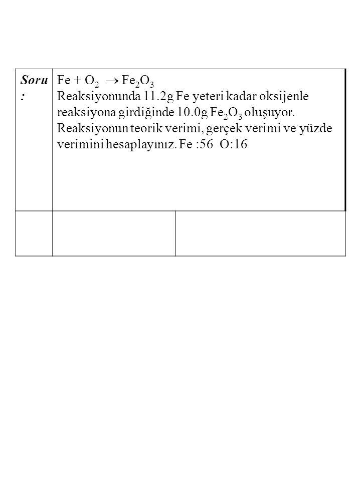 Soru: Fe + O2  Fe2O3.