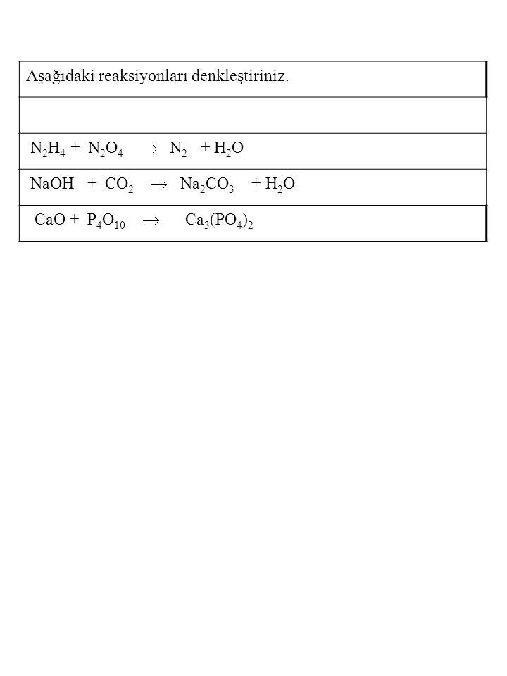 Aşağıdaki reaksiyonları denkleştiriniz.