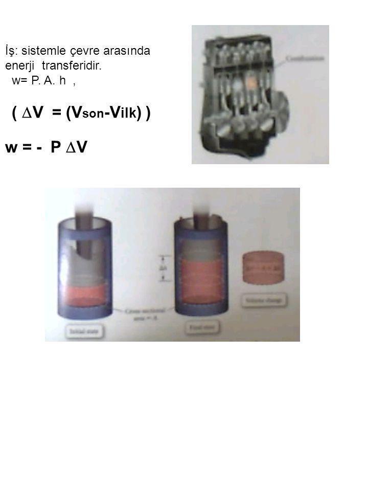 w = - P V İş: sistemle çevre arasında enerji transferidir.