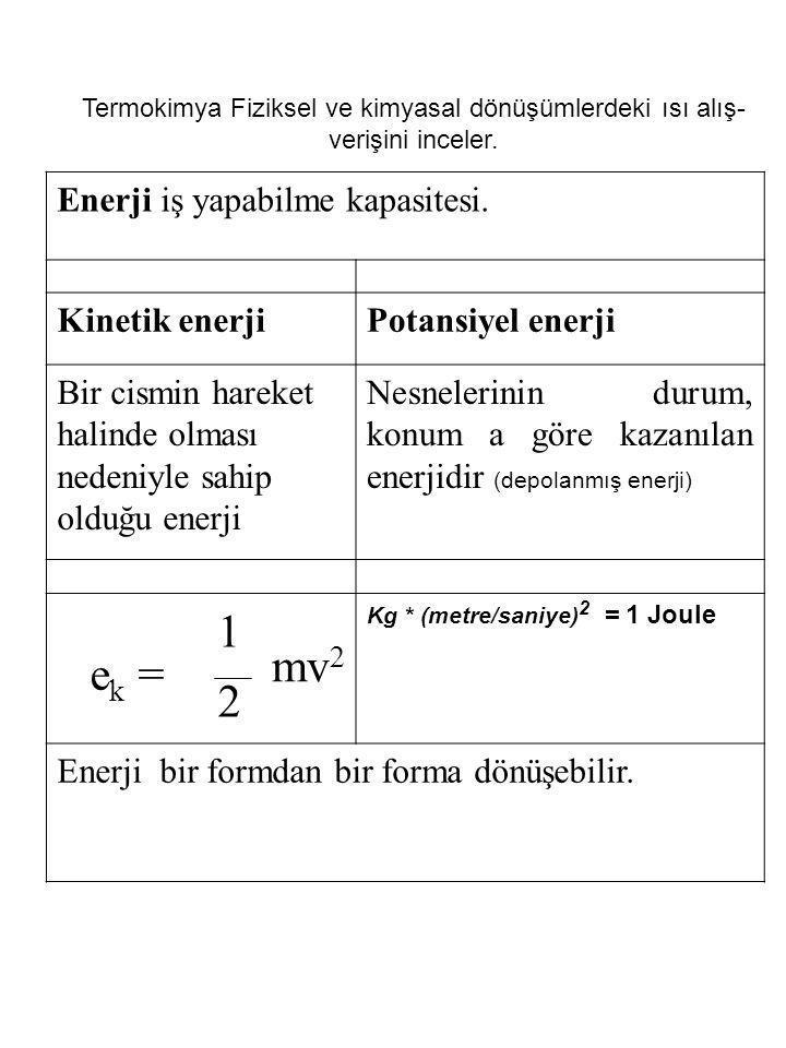 1 mv2 ek = 2 Enerji iş yapabilme kapasitesi. Kinetik enerji
