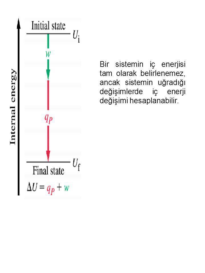 Bir sistemin iç enerjisi tam olarak belirlenemez, ancak sistemin uğradığı değişimlerde iç enerji değişimi hesaplanabilir.