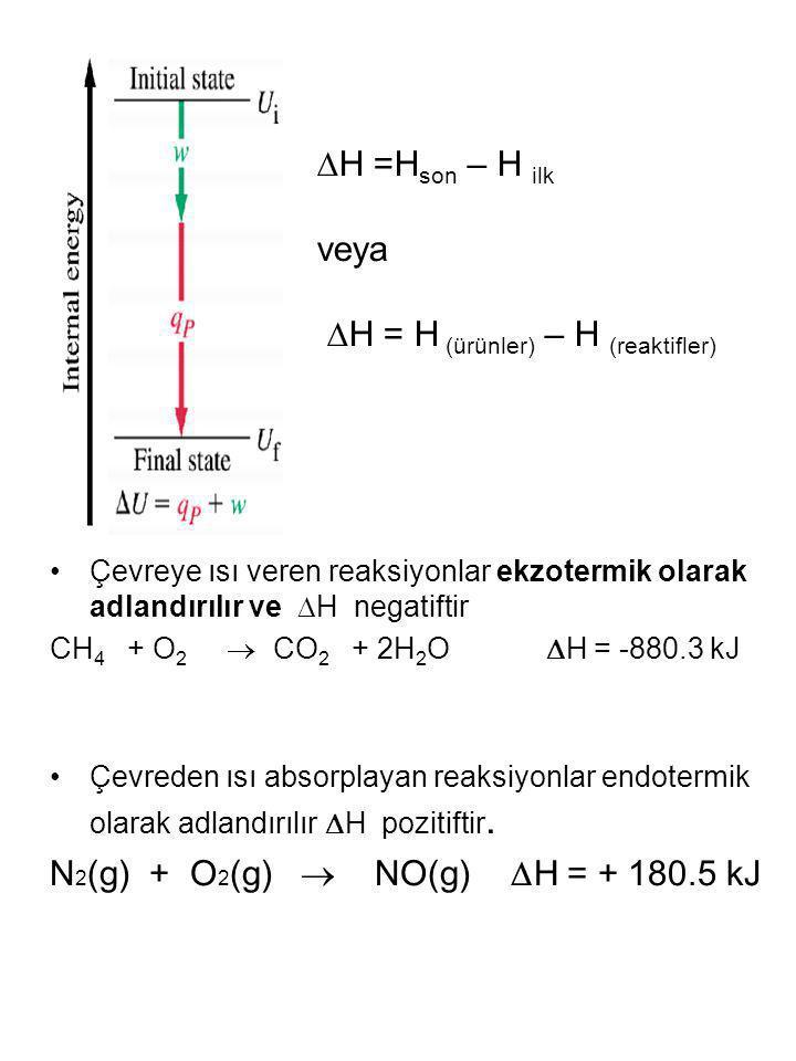 H = H (ürünler) – H (reaktifler)