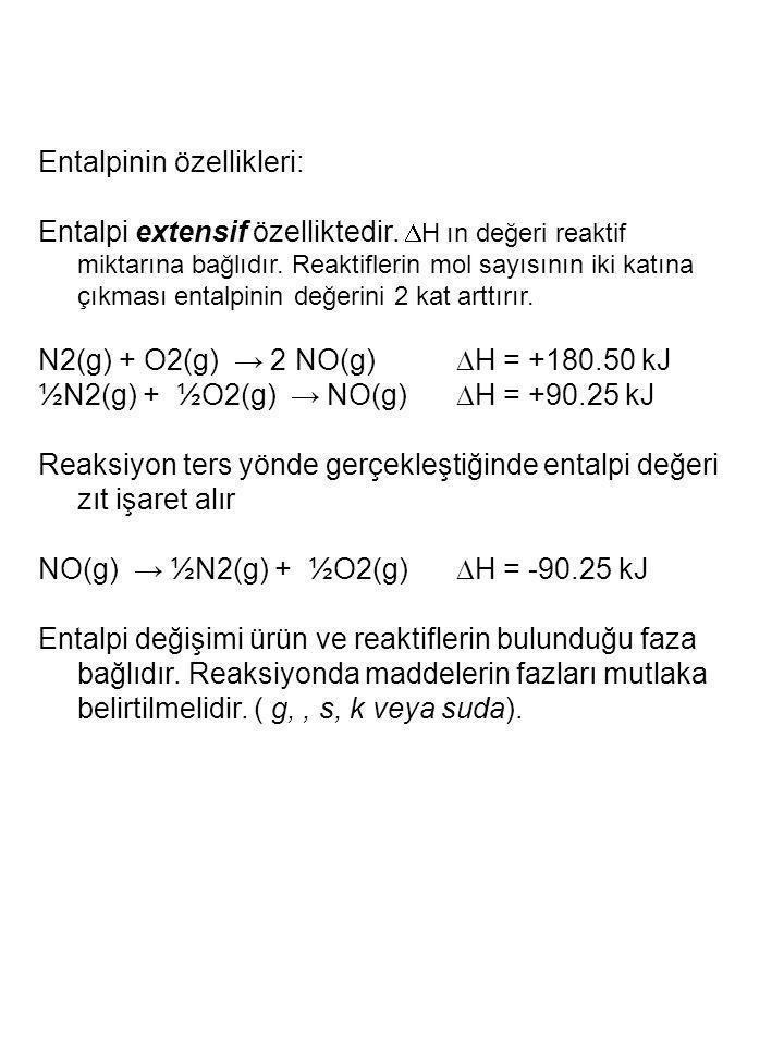 Entalpinin özellikleri: