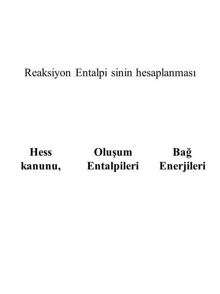 Reaksiyon Entalpi sinin hesaplanması