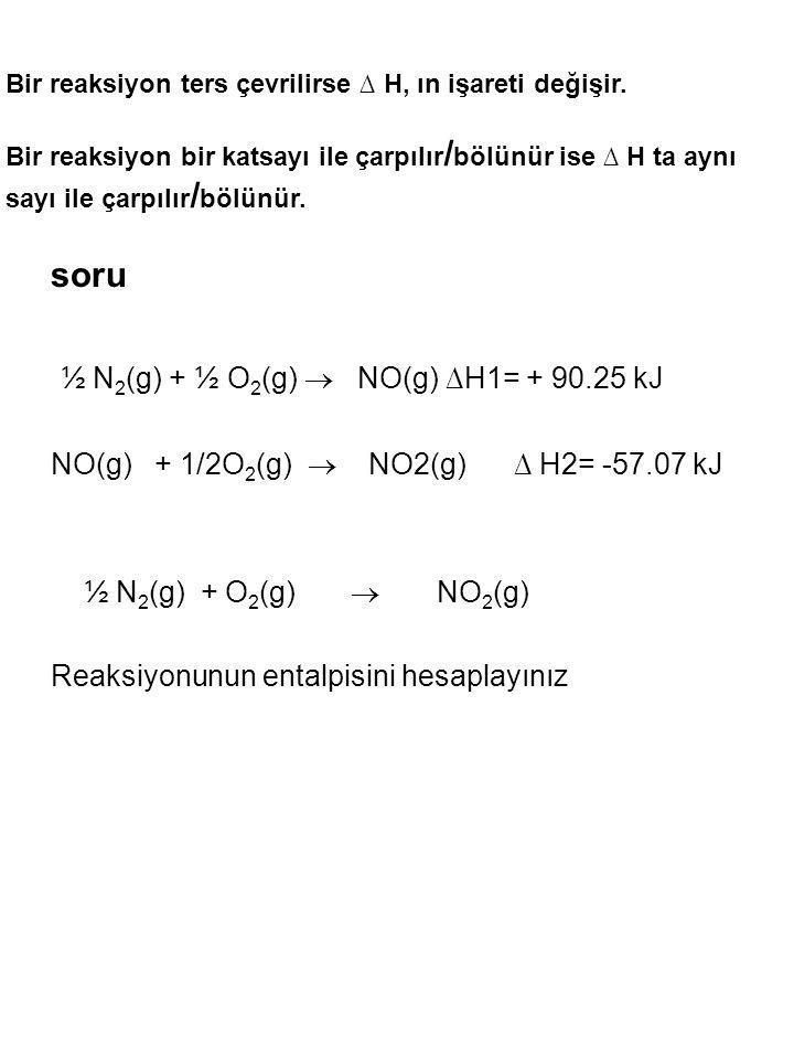 ½ N2(g) + ½ O2(g)  NO(g) ∆H1= + 90.25 kJ
