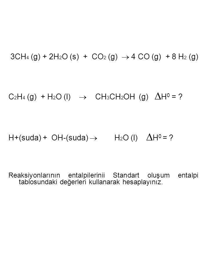 3CH4 (g) + 2H2O (s) + CO2 (g)  4 CO (g) + 8 H2 (g)