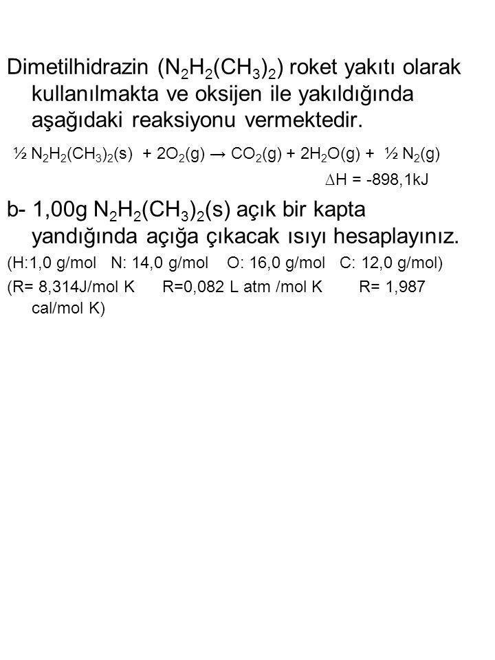 ½ N2H2(CH3)2(s) + 2O2(g) → CO2(g) + 2H2O(g) + ½ N2(g) ∆H = -898,1kJ
