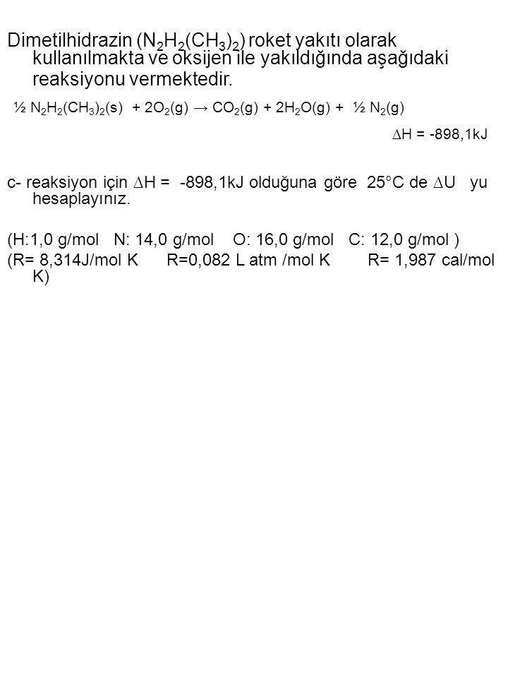 ½ N2H2(CH3)2(s) + 2O2(g) → CO2(g) + 2H2O(g) + ½ N2(g)