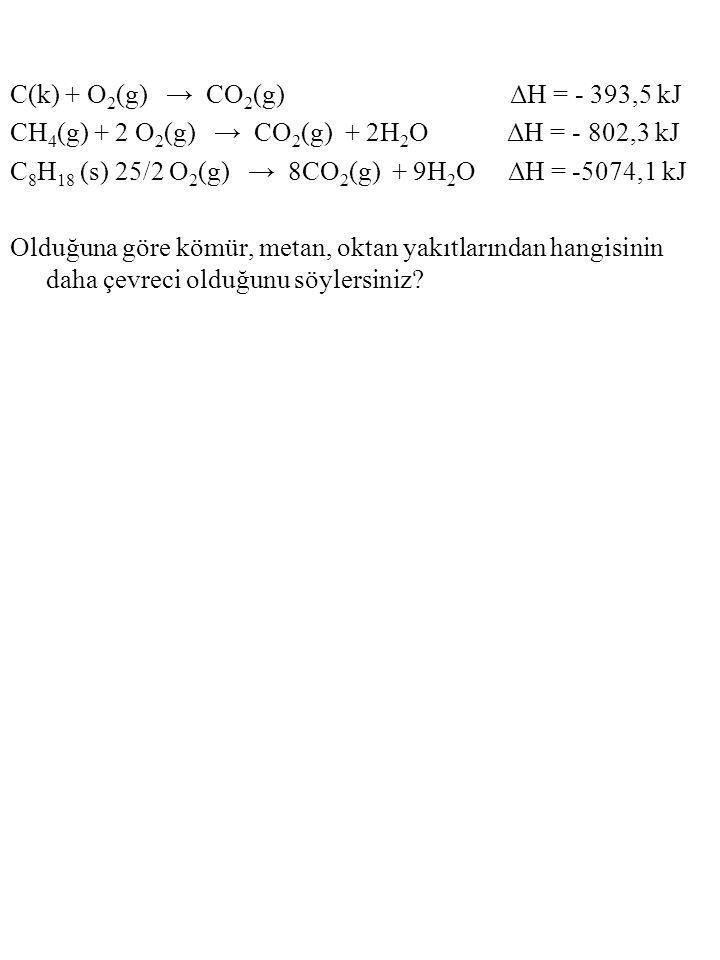 C(k) + O2(g) → CO2(g) ΔH = - 393,5 kJ