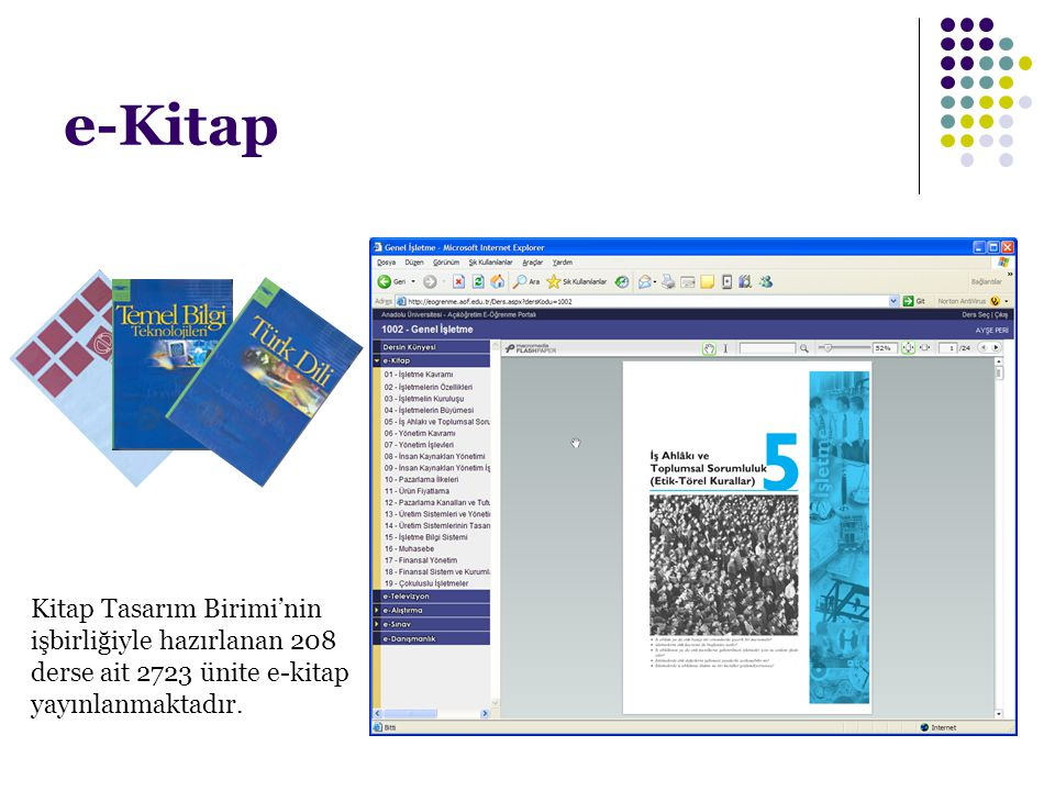 e-Kitap Kitap Tasarım Birimi'nin işbirliğiyle hazırlanan 208 derse ait 2723 ünite e-kitap yayınlanmaktadır.