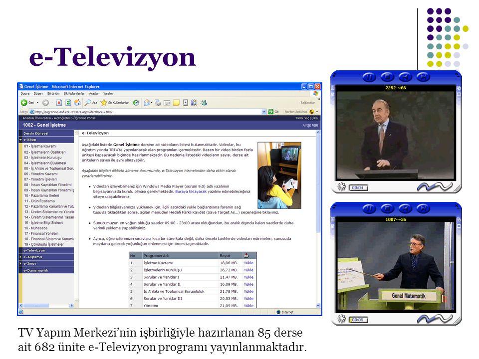 e-Televizyon TV Yapım Merkezi'nin işbirliğiyle hazırlanan 85 derse ait 682 ünite e-Televizyon programı yayınlanmaktadır.