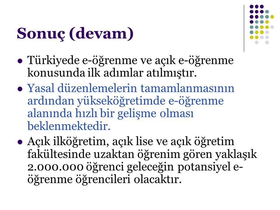 Sonuç (devam) Türkiyede e-öğrenme ve açık e-öğrenme konusunda ilk adımlar atılmıştır.