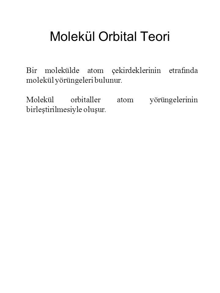 Molekül Orbital Teori Bir molekülde atom çekirdeklerinin etrafında molekül yörüngeleri bulunur.