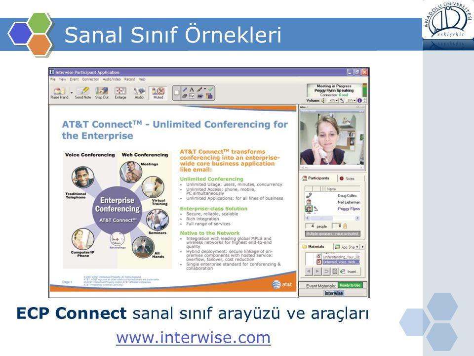 Sanal Sınıf Örnekleri ECP Connect sanal sınıf arayüzü ve araçları