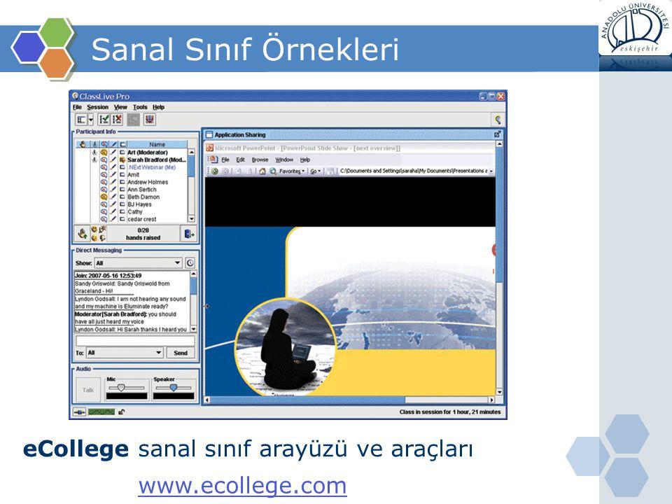 Sanal Sınıf Örnekleri eCollege sanal sınıf arayüzü ve araçları