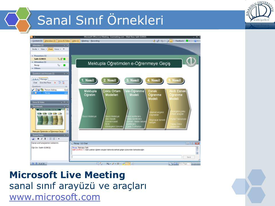 Sanal Sınıf Örnekleri Microsoft Live Meeting
