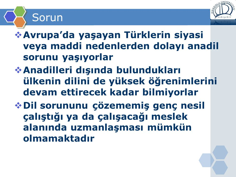 Sorun Avrupa'da yaşayan Türklerin siyasi veya maddi nedenlerden dolayı anadil sorunu yaşıyorlar.