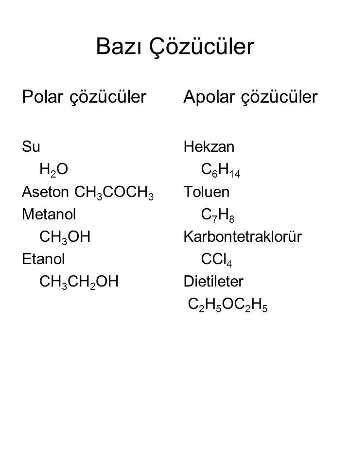 Bazı Çözücüler Polar çözücüler Apolar çözücüler Su H2O Aseton CH3COCH3