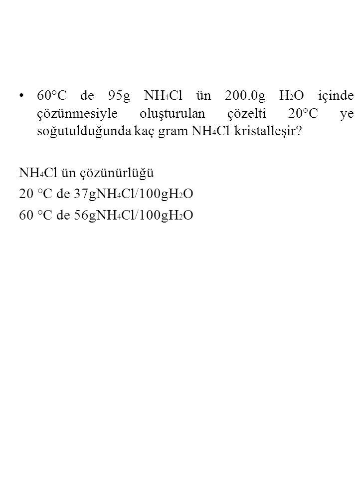 60°C de 95g NH4Cl ün 200.0g H2O içinde çözünmesiyle oluşturulan çözelti 20°C ye soğutulduğunda kaç gram NH4Cl kristalleşir