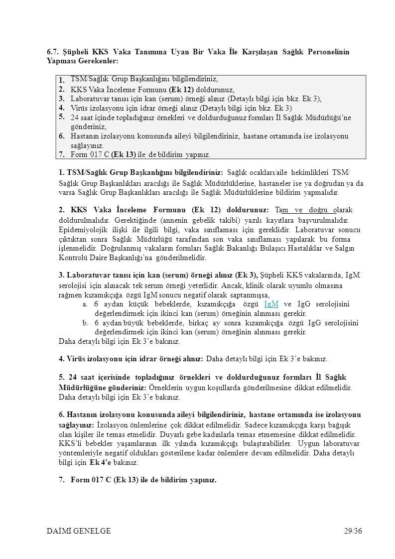 6.7. Şüpheli KKS Vaka Tanımına Uyan Bir Vaka İle Karşılaşan Sağlık Personelinin
