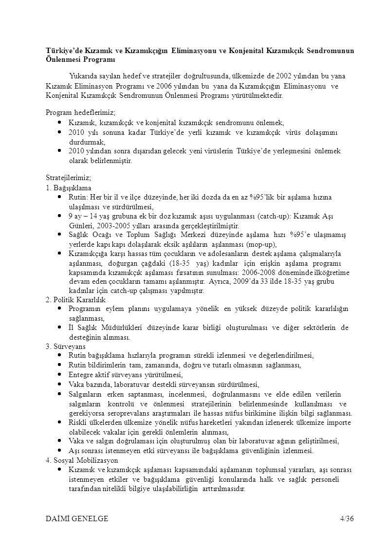 Türkiye'de Kızamık ve Kızamıkçığın Eliminasyonu ve Konjenital Kızamıkçık Sendromunun