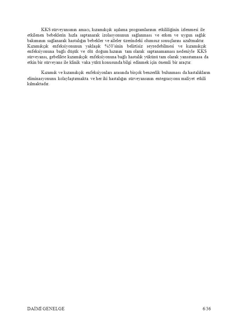 KKS sürveyansının amacı, kızamıkçık aşılama programlarının etkililiğinin izlenmesi ile